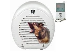 Electronic Barking Dog Alarm, Remote Control, And Bark Graphic