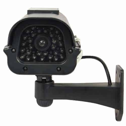Dummy CCTV Camera With Solar Chargeable Battery Red LED Black Front Two