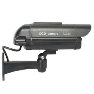 Dummy CCTV Camera With Solar Chargeable Battery Red LED Black Side