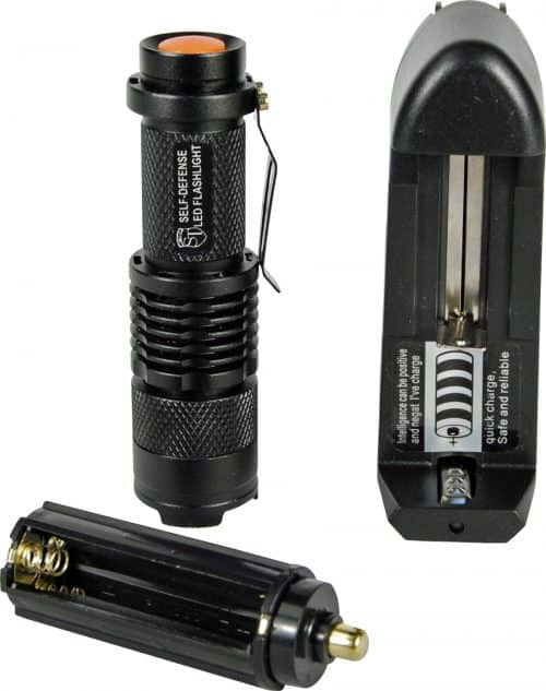 Rechargable Zoomable 500 Lunen LED Flashliht And Charger