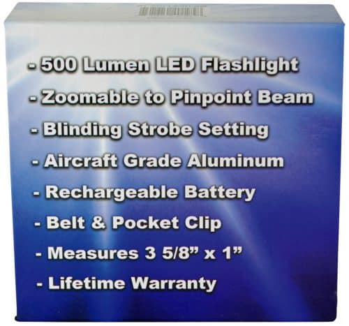 Rechargable Zoomable 500 Lunen LED Flashliht Retail Box