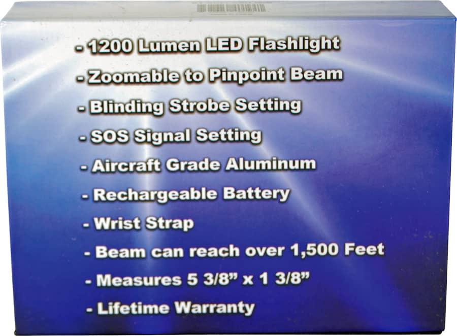 Rechargable Zoomable LED Flashliht Retail Box
