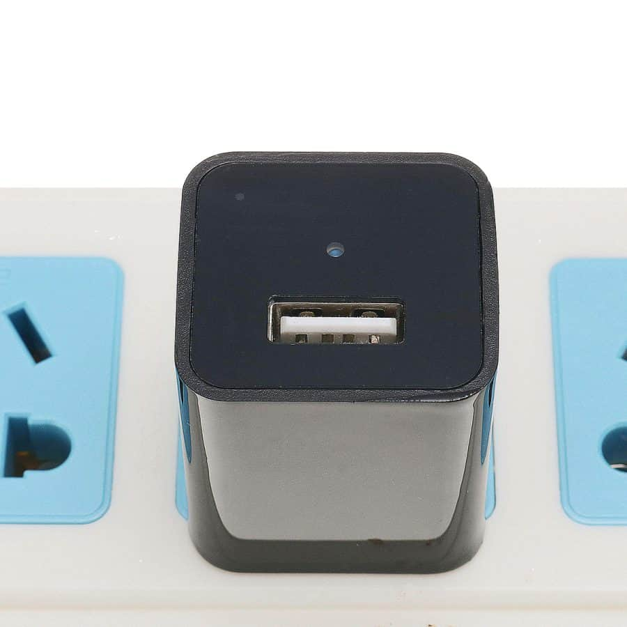 USB Charger With Hidden Camera And DVR On Powerstrip Close