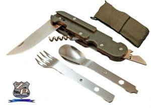 Camping Backpacking Mess Utensil Set Separated And Open with Sheath