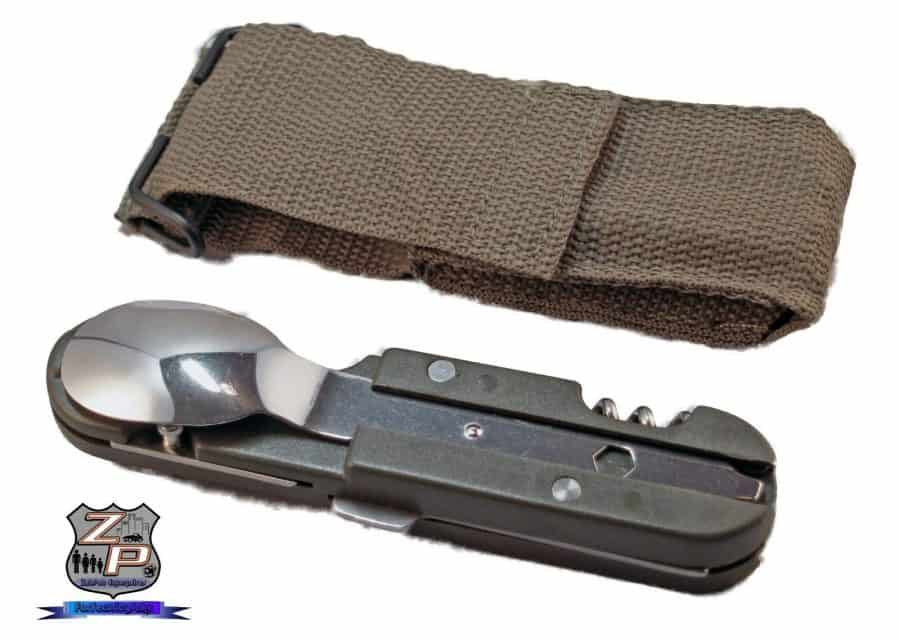 Camping Backpacking Mess Utensil Set and Belt Hoop Sheath Front