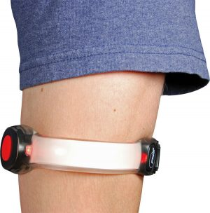 LED Light Arm Band For Joggers & Bicycling Red On Arm