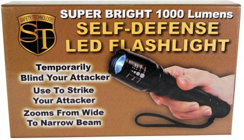 Tactical Zoomable Flashlight with Cree 1000 Lumen LED, Belt Clip, And Charger Retail Box